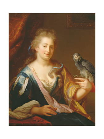 Portrait of a Lady Feeding a Parrot Giclee Print by Godfried Schalcken