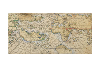 Universal Marine, World Sea on Illustrated Parchment, Circa 1508 Giclee Print by Francesco Rosselli