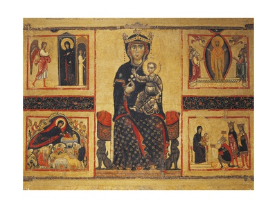 Enthroned Madonna and Child with Four Marian Stories Giclee Print by Margarito d'Arezzo