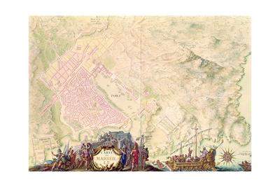 Louis XIV Atlas, Map and Plan of Marseille, 1683-88 Giclee Print by Sebastien Le Prestre de Vauban