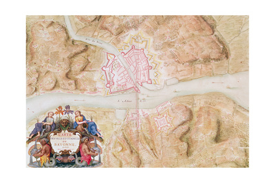 Plan and Map of the Town and Citadel of Bayonne Giclee Print by Sebastien Le Prestre de Vauban