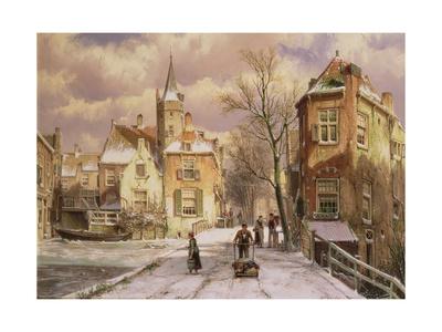 Pushing a Wheelbarrow in the Snow Giclee Print by Willem Koekkoek