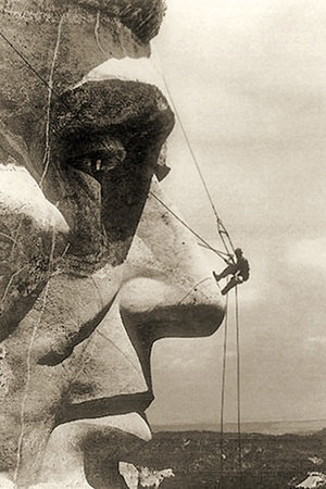 The Construction of the Mount Rushmore National Memorial, Detail of Abraham Lincoln,1928 Photographic Print