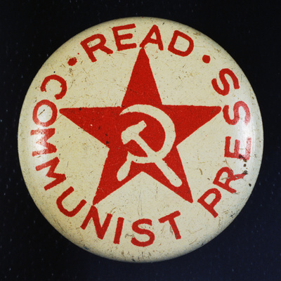 Read Communist Press Button Photographic Print by David J. Frent