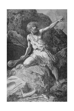 Illustration of Neolithic Man Giclee Print by Emile Antoine Bayard