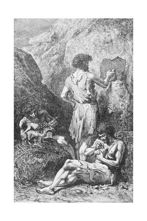 Prehistoric Men Depicting Deer Giclee Print by Emile Antoine Bayard