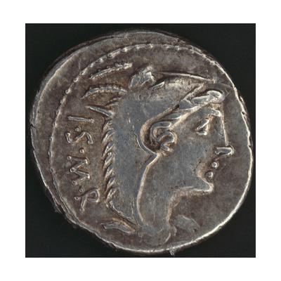 Denarius of Lucius Balbus Bearing Image of Head of Juno Lanuvio, Recto, Roman Coins BC Giclee Print