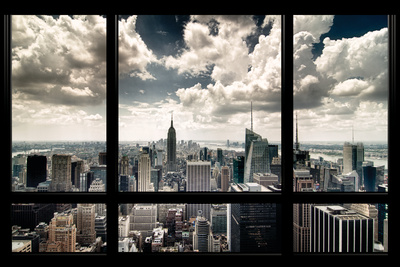 View of Manhattan New York City skyline from a window photo print by Steve Kelley