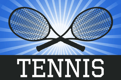 Tennis Crossed Rackets Blue Sports Posters
