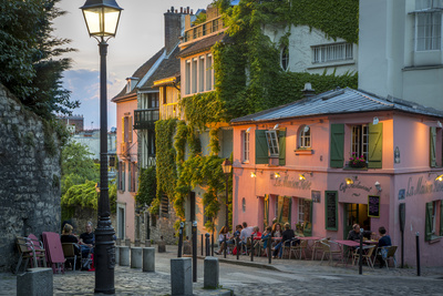 Evening Sunlight on La Maison Rose in Montmartre, Paris, France Photographic Print by Brian Jannsen