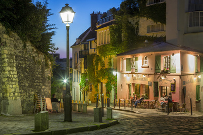 Twilight at Maison Rose, Montmartre, Paris, France Photographic Print by Brian Jannsen