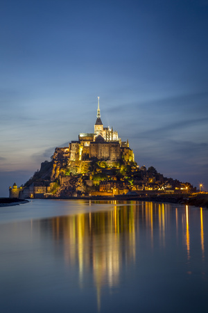 Twilight over Le Mont Saint Michel, Normandy, France Photographic Print by Brian Jannsen