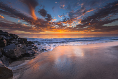 Sunset from Tamarach Beach in Carlsbad, Ca Photographic Print by Andrew Shoemaker