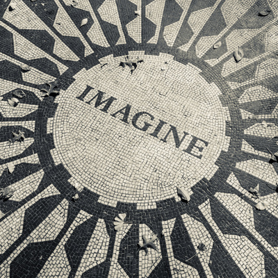 USA, New York, City, Central Park, John Lennon Memorial, Imagine 写真プリント : ウォルター・ビビコウ