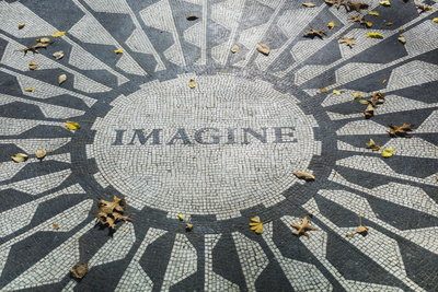 USA, New York, City, Central Park, John Lennon Memorial, Imagine Photographic Print by Walter Bibikow