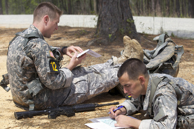 U.S. Army Rangers Map Out their Route for Day Land Navigation Photographic Print