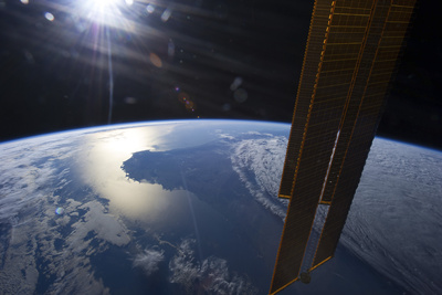 View from Space of a Setting Sun Above Part of Southwestern Australia Photographic Print