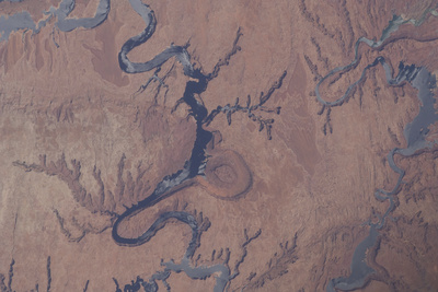 View from Space of Lake Powell and the Rincon in Utah Photographic Print