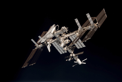 The International Space Station and Docked Space Shuttle Endeavour Photographic Print
