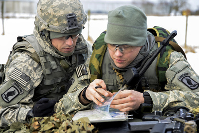 U.S. Army Paratroopers Use a Map to Prepare for a Platoon Exercise Photographic Print