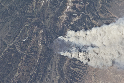 View from Space of the Fontenelle Fire Burning in Wyoming Photographic Print