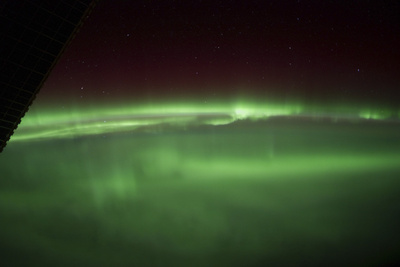 View from Space of an Aurora Borealis on Planet Earth Photographic Print
