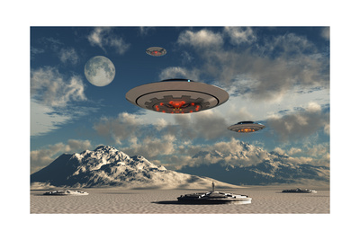 Alien Base with Ufos Located in the Antarctic Posters