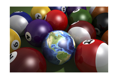 Pool Table with Balls and One of Them as Planet Earth Art
