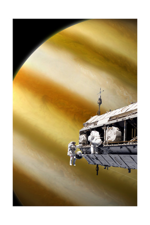 Astronauts Performing Work on a Space Station While Orbiting a Large Alien Planet Posters