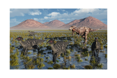Tyrannosaurus Rex Chasing a Herd of Parasaurolophus Dinosaurs Posters