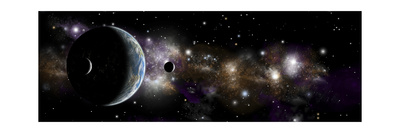 An Earth-Like Planet with a Pair of Moons in Orbit Art