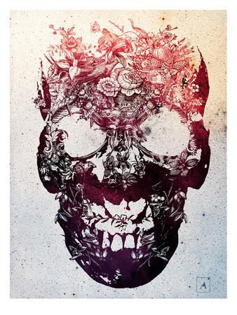 Floral Skull Posters by Ali Gulec