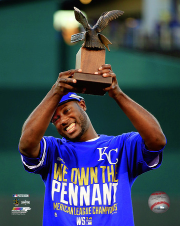 Lorenzo Cain with the 2014 ALCS MVP Trophy Game 4 of the 2014 American League Championship Series Photo