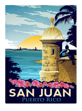San Juan Puerto Rico travel art print, popular college travel destination