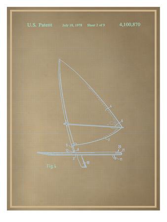 Wind Surfboard Blueprint Print