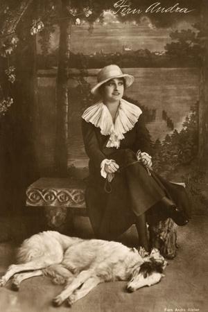 Fern Andra, German Actress, with Borzoi Dog Photographic Print
