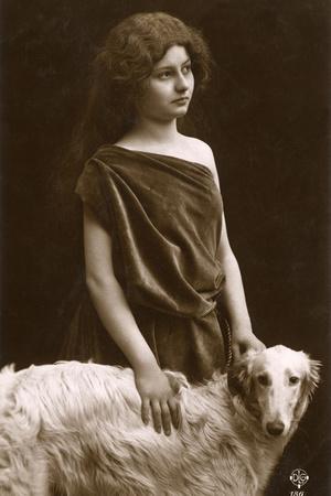 Studio Portrait, Woman with Borzoi Dog Photographic Print