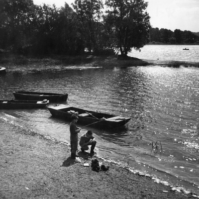 Reservoir Anglers Photographic Print