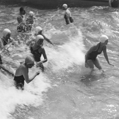 Surfing Girls Photographic Print
