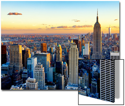 Empire State Building and One World Trade Center at Sunset, Midtown Manhattan, New York City Prints by Philippe Hugonnard