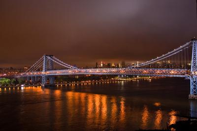 Williamsburg Bridge at Night from Brooklyn Photo Poster Posters