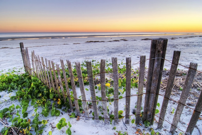 A Beach Fence at Sunset on Hilton Head Island, South Carolina. Photographic Print by Rachid Dahnoun