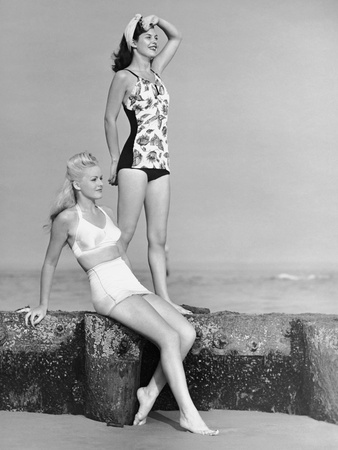 Two Women in Bathing Suits Photographic Print by George Marks