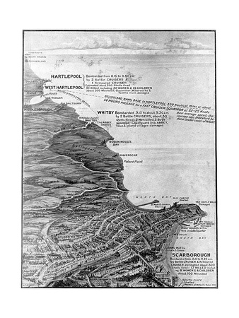 Map of the East Coast Bombardments, WW1 Premium Giclee Print by G.f. Morrell