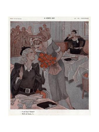Lesbian Bar, Flowers 1935 Premium Giclee Print by Henry Fournier