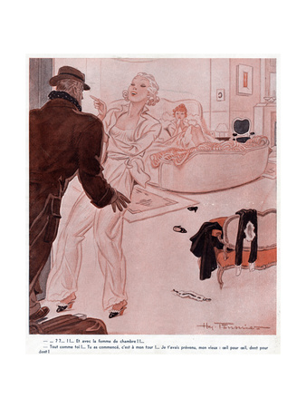 In Bed with Maid Premium Giclee Print by Henry Fournier