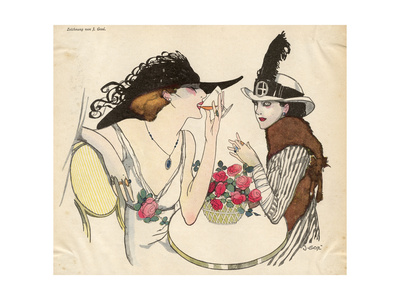 Two Ladies Drinking 1930S Premium Giclee Print by J. Gose