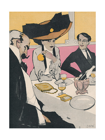 Three German Diners 1910 Premium Giclee Print by J. Gose