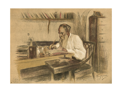 Leo Tolstoy in Study Premium Giclee Print by L O Pasternak