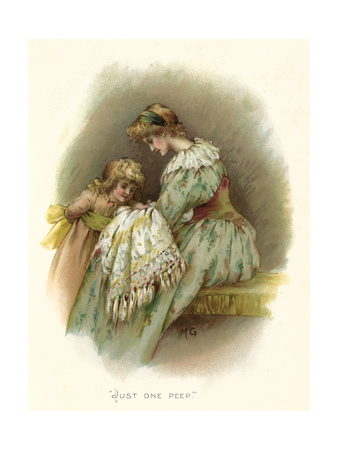 Little Girl Asks for a Peep at New Baby Premium Giclee Print by Maud Goodman